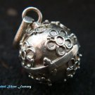 Silver Flower 12mm Chime Ball Pendant CH-323-KT