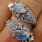 Silver 925 & Moonstone Double Headed Snake Ring RI-335-KT