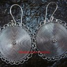Large 40mm Sterling Silver Round Drop Disc Earrings SE-196-PS