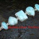 925 Sterling Silver Five Larimar Cabochon Bracelet SBB-389-KT