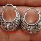 Sterling Silver Bali Ornate/Scrollwork Design Hoop Earrings SE-197-KT