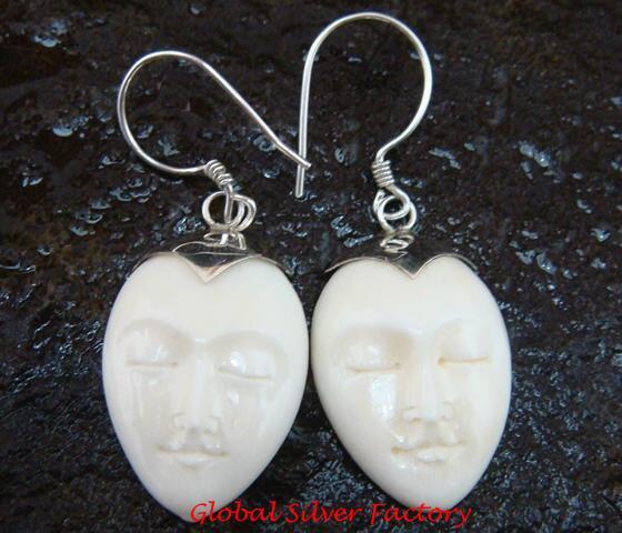 Sterling Silver Hand Carved Cow Bone Oval Moon Face  Earrings - GDE-1155-KA