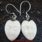 Sterling Silver Hand Carved Cow Bone Oval Moon Face  Earrings - GDE-1155-KA