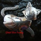 Smiling Cat Sterling Silver Brooch BC-172-KA