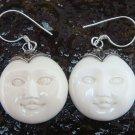Handmade 925 Silver Moon Face Carved Ox Bone Earrings GDE-1153-KA