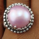 Large 925 Silver Round Mabe Pearl Ornate Design Ring RI-389-KT