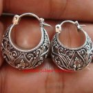 Sterling Silver Bali Ornate Design Hoop Earrings SE-198-KT