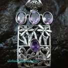 925 Silver Rectangle Amethyst Bali Designer Pendant SP-533-KT