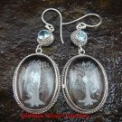 Sterling Silver Clear Quartz Crystal Earrings Blue Topaz ER-638-KT