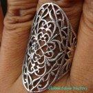 Large 925 Silver Open Filigree  Design Ring SR-139-KA