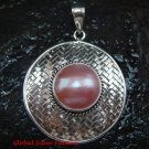 Large 925 Silver Bamboo/ Braided Design Pendant Pink Pearl SP-641-KT