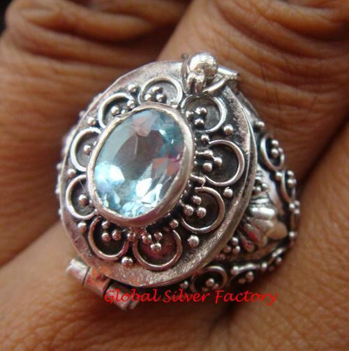 925 Silver Blue Topaz Locket Ring LR-629-KT