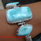 Sterling Silver & Three Larimar Bracelet - Assorted Stone Shapes SBB-387-KT