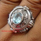 Sterling Silver Bali Poison Locket Ring w/Blue Topaz LR-630-KT