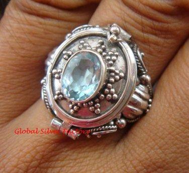 Sterling Silver Bali Poison Locket Ring w/Blue Topaz LR-630-KT