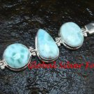 Chunky Sterling Silver Three Genuine Larimar Bracelet SBB-388-KT