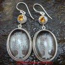 Sterling Silver Clear Quartz Crystal Earrings Citrine ER-641-KT
