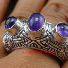 Sterling Silver Three Amethyst Cabochon Gemstone Ring RI-378-PS