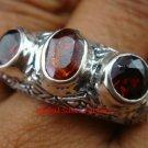 Sterling Silver Three Garnet Gemstone Ring RI-379-PS