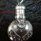Sterling Silver  Ornate Cremation /Perfume Pendant Blue Topaz PP-390-KT