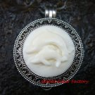 925 Silver  Carved Dolphin  Keepsake Locket Pendant LP-202-KA