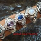 5x Mixed Design Wholesale Silver Style Bali Keepsake / Poison Rings - Various Stones  SSB-338-GSF