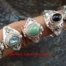 5x Mixed Design Wholesale Silver Style Bali Keepsake / Poison Rings - Various Stones  SSB-339-GSF