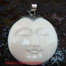 Handmade 925 Silver Moon Face Carved Ox Bone Pendant GDP-1151-KA