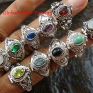 10x Wholesale Silver Style  Bali Keepsake / Poison Rings - Various Stones & Styles SSB-340-GSF