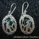 Silver and Jade Bird Design Earrings ER-722-KA