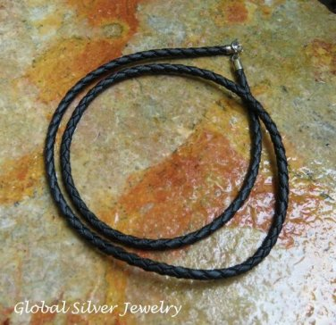Silver and Woven Leather Cord SCC-183-KA