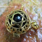 Gold Plated Silver Star of David Chime Ball Pendant GPB-102-KT