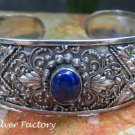 Large Sterling Silver & Lapis Lazuli Bali Hammered Cuff Bangle SBB-447-KA