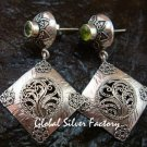 Ornate Sterling Silver & Peridot Bali Designer Earrings ER-674-KT