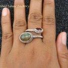 Sterling Silver Multi  Gemstone Rope Design Ring RI-401-KT