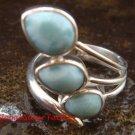 925 Sterling Silver Three Larimar Ring RI-390-NY