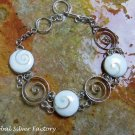 Sterling Silver Eye of Shiva Shell Bracelet SBB-444-KA