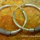 Bali Style Sterling Silver 30-mm Endless Hoop Earrings SE-255-KA