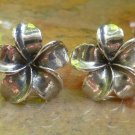 Sterling Silver Frangipani Plumeria Stud Earrings SE-253-KA