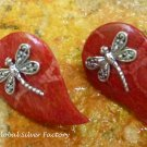 Red Coral Dragonfly Earrings in Sterling Silver ER-785-KT
