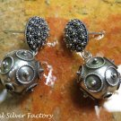 Silver Balinese Design Dangle Earrings SE-263-KA