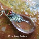 Silver and Synthetic Rose Quartz Teardrop Pendant SJ-228-KA