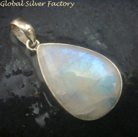 Silver and Rainbow Moonstone Pendant SP-744-PT