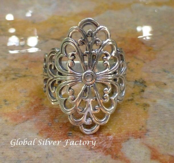 Sterling Silver Balinese Filigree Ring SR-212-KA