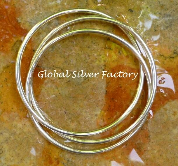 Sterling Silver Three Interlocking Bangle, Fancy Style, Latest Fashion Bangle SBB-427-KA