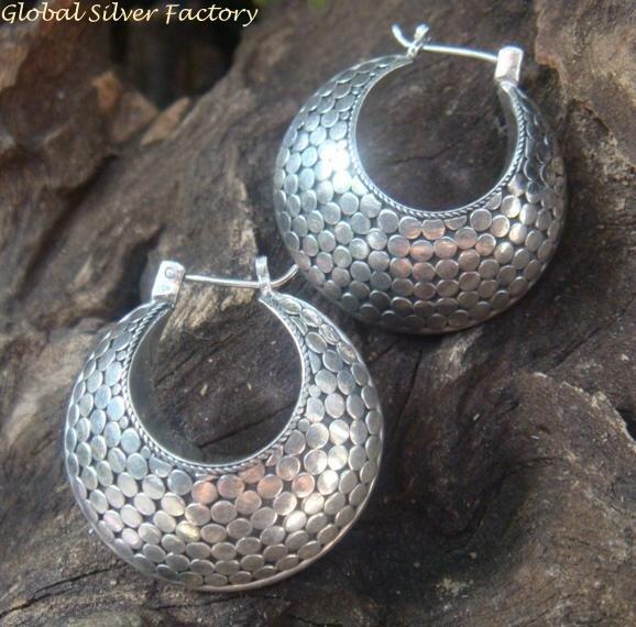 Large 35MM Sterling Silver Hoop Earrings SE-241-KT