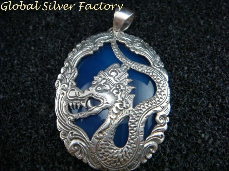 Silver and Blue Agate Dragon Pendant SP-717-KA