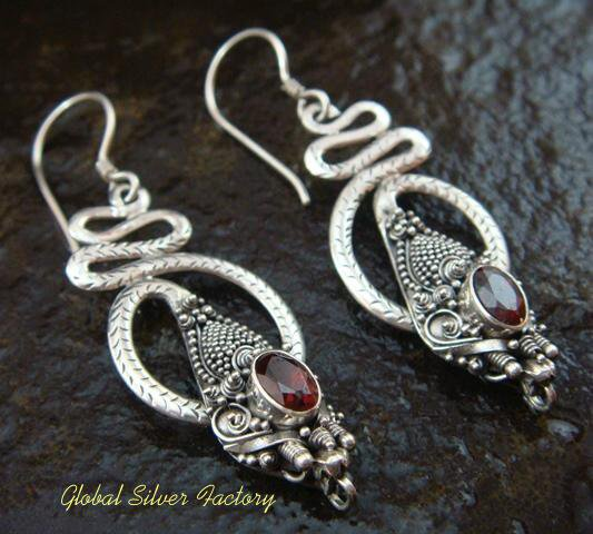Silver Garnet Snake Earrings ER-567-NY
