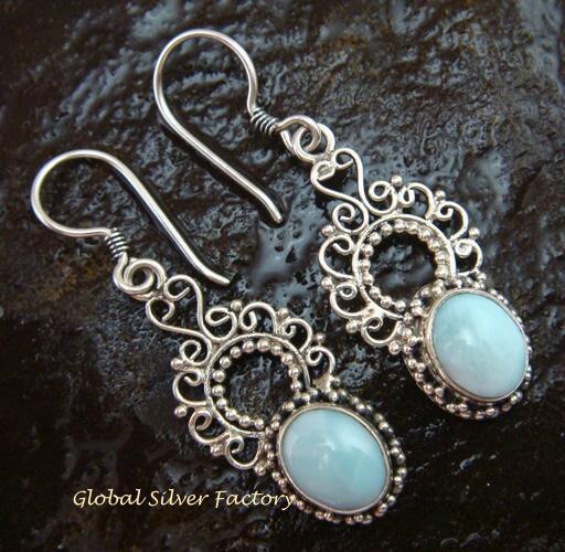 925 Silver Bali Design Larimar Earrings ER-570-NY