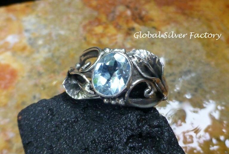 Silver and Topaz Leaf Design Gemstone Ring RI-501-KT
